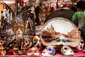 Carnival masks in a store — Stock Photo