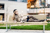 Serene woman relaxing outdoor — Stock Photo
