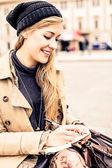 Woman writing diary — Stock Photo