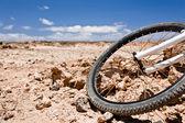 Jízdní kolo zaparkované v poušti — Stock fotografie
