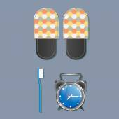 Slippers, alarm clock and toothbrush — Stock Photo