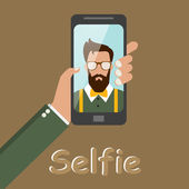 Hipster style photo selfie . Man face in ancient clothes. the phone. vector — Stock Vector