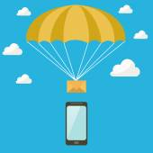 SMS goes down on a parachute from the sky into the phone — Stock Vector