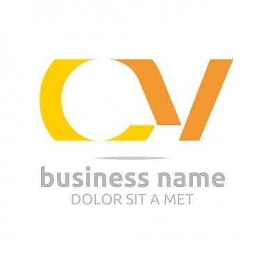 Logo letter C combination V lettemark design vector