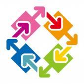 Logo octagon arrow colorful space rainbow design vector — Stock Vector