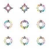 Logo design ikon kompassriktningen placera abstrakt vektor — Stockvektor