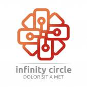 Logo Abstract Design Connect Infinity Circle letter — Stok Vektör
