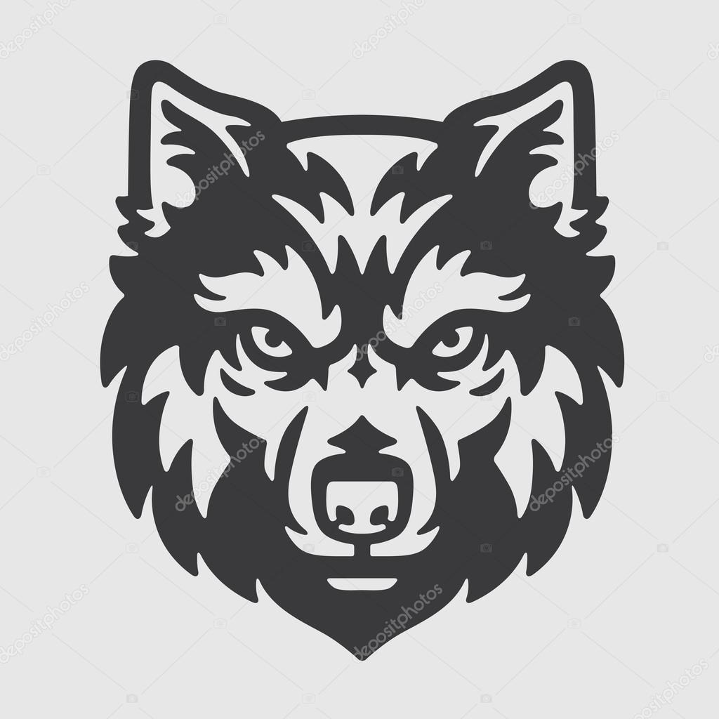 wolf head logo mascot emblem � stock vector
