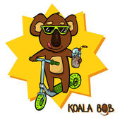 Koala Bob scooter — Stock Vector