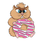 Greedy hamster sits with cookies. — Stock Vector