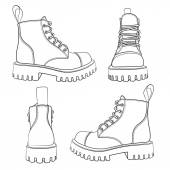Vector set of drawings with boots. Isolated objects on a white background. — Stock Vector