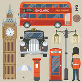 England set flat icons — Stock Vector