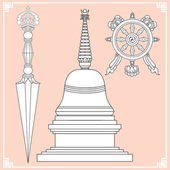 Buddhist symbols — Stock Vector