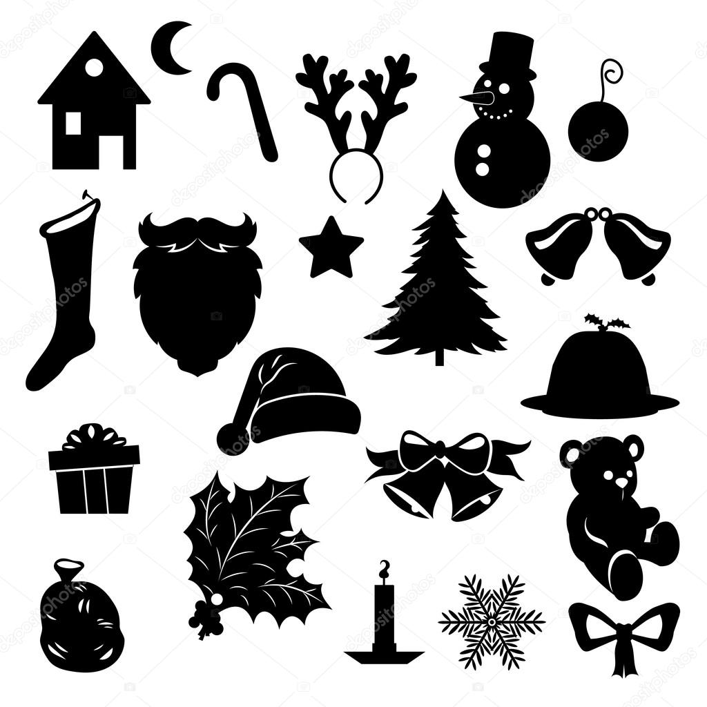 Silhouette Of Christmas Symbols Stock Vector 169 Mpmpya
