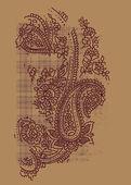 Paisley print with tartan — Stock Vector