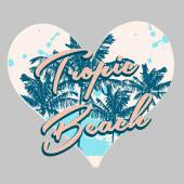 Tropical print in heart shape — Stock Vector