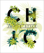 Tropical print with slogan — Stock Vector