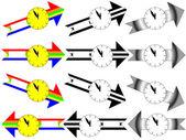Arrow clock showing five minutes to twelve — Stock Photo