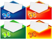 Red, blue, green and yellow envelope — Stock Photo
