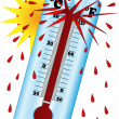 The sun creates a high temperature when the thermometer explodes — Stock Photo #80419780