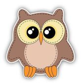 Cute owl label on white background — Stock Photo