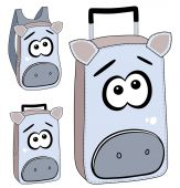 Cartoon suitcases and backpack with animal face design — Stock Vector