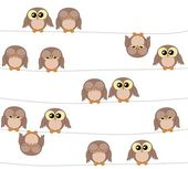 Illustration of cute owls on white — Stock Vector