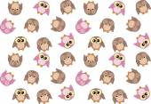 Seamless pattern with cute pink and brown owls — Stock Vector