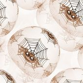 Seamless background or texture with spiders and cobweb in brown — Stock Photo