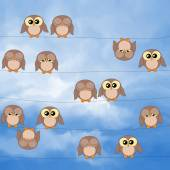 Illustration of cute owls sitting on power lines — Stock Photo