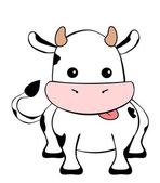 Cute baby cow isolated on white — Stock Vector