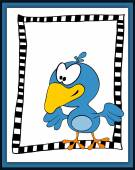 Cartoon happy bird in scrapbooking style — Stock Photo