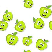 Seamless pattern with smiling apples on white — Stock Photo