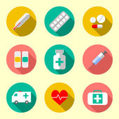 Flat style with long shadows, health care and medicine illustrations icons set. — Stock Vector