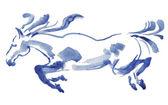 Akwarela prowadzenia konia — Zdjęcie stockowe