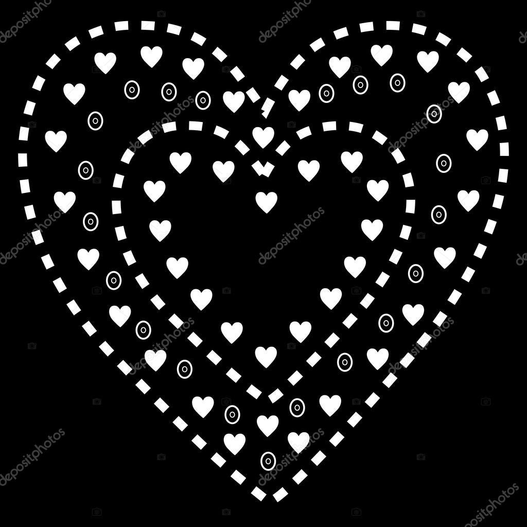 다운로드 - 검은 배경에 흰색 하트 패턴 — 스톡 ...