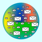 Emails in the color cloud Internet communication — Stock Vector