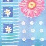 Beatiful postcard with gerbera flowers and hearts — Stock Photo #77144805