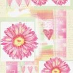 Beatiful postcard with gerbera flowers and hearts — Stock Photo #77495912