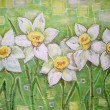 Acrylic painting. Daffodils flowers or narcissus — Stock Photo #77494556