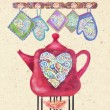 Kitchen love. Beautiful card with red teapot on the fire, hearts and potholders. Cute teapot with abstract multicolored heart on a vintage background. Time for tea or coffee. Valentine kettle. — Stock Photo #79443864