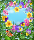Daylight meadow color background. Idealistic tranquil image. Beautiful multicolored flowers and insects on a background of blue windless sky with clouds. — Stock Photo