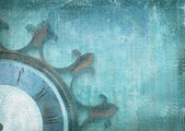 Fragment of the old vintage wall clock with roman numbers on a grunge background. Abstract composition for your design. Blue illustration of part clockface without arrows in the shape of ship wheel. — Stock Photo