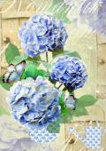 Floral postcard. Can be used for greeting or invitation, mothers day, valentines day, birthday cards, gift warp. Hydrangea flowers. — Stock Photo
