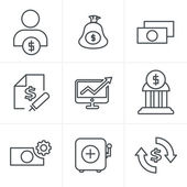 Line Icons Style  Finance icon set,vector — Stock Vector