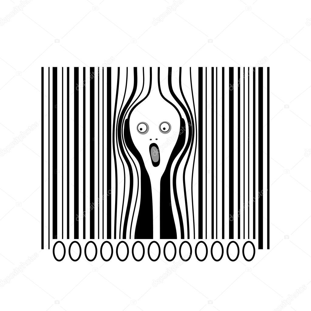 the scream consumerism victims a creative barcode stock vector 78896448. Black Bedroom Furniture Sets. Home Design Ideas