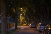 Quiet street alley at the late dark night — Stock Photo