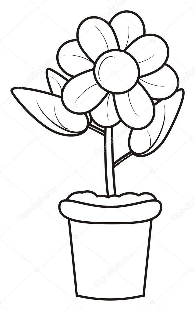 Coloriage fleur dans un pot photo 101700730 - Photo de fleur a imprimer ...