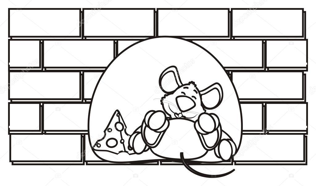 coloriage le trou de souris dans un mur de briques se trouve au fromage photographie. Black Bedroom Furniture Sets. Home Design Ideas
