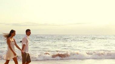 Sunset Beach Couple — Stock Video